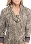 Color Block Cowl Neck Rib Sweater Dress