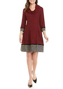 Rib Knit Cowl Neck Dress