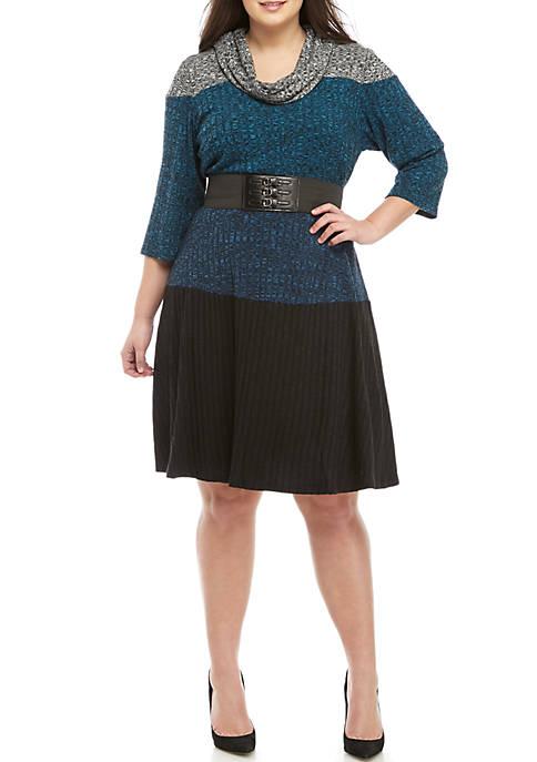 Plus Size Tricolor Cowl Neck Dress