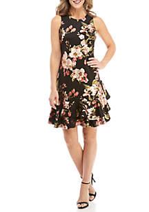 Drop Waist Foil Floral Dress