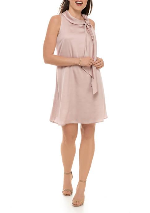 Womens Sleeveless Tie Halter Neck Satin A Line Dress