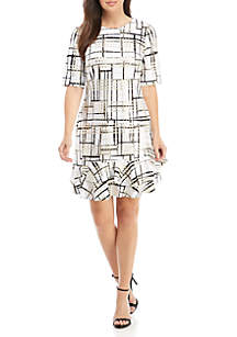 Short Sleeve Flounce Hem Plaid Dress