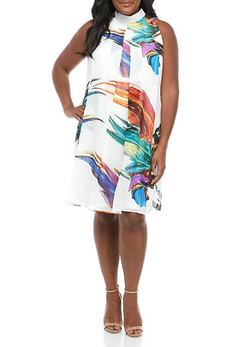 Plus Size Sleeveless Mock Neck Chiffon A Line Dress