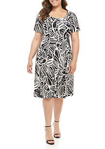 Robbie Bee Plus Size Cap Sleeve Fit and Flare Dress