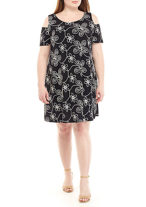 Plus Size Cold Shoulder Floral Puff Dress