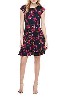 Robbie Bee Cap Sleeve Textured Floral Dress
