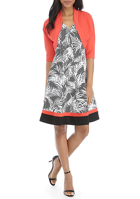 Robbie Bee Floral Dress with Solid Jacket