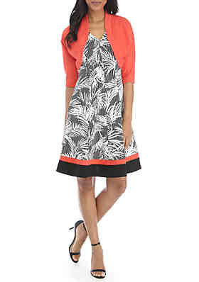 c2f6bbf4112 Robbie Bee Floral Dress with Solid Jacket ...