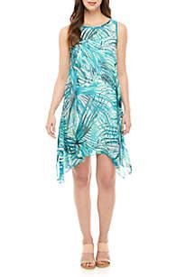 Robbie Bee Sleeveless Chiffon Palm Leaf A Line Dress