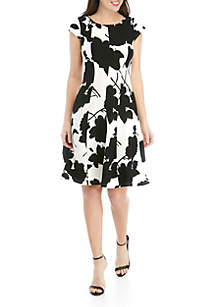Robbie Bee Floral Fit and Flare Textured Knit Dress