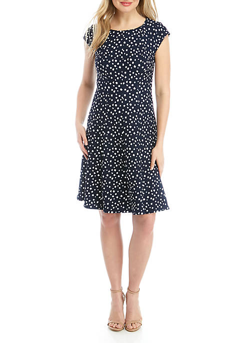Dot Fit and Flare Textured Knit Dress