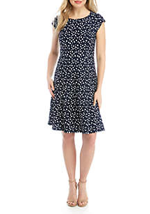 Robbie Bee Dot Fit and Flare Textured Knit Dress