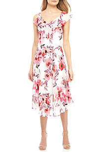 Robbie Bee Sleeveless Ruffle Trim V-Neck Chiffon Dress