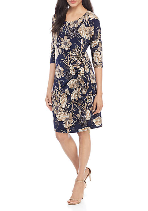 3/4 Sleeve Printed Side Tie Floral Dress