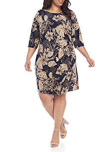 Robbie Bee Plus Size 3/4 Puff Print Side Tie Floral Dress