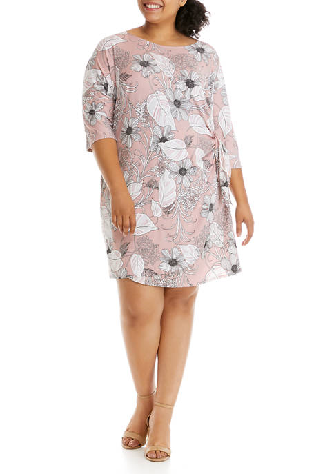 Robbie Bee Plus Size Short Sleeve Floral Wrap
