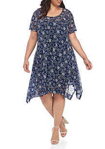 Robbie Bee Plus Size Printed Lace Dress