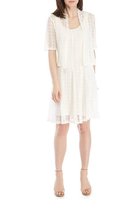 2-Piece Crochet Jacket and Dress Set
