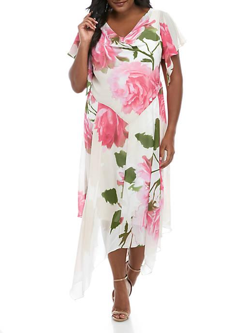 Plus Size Chiffon Floral Drape Neck Dress