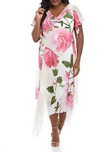 8df3ada0381 ... Robbie Bee Plus Size Chiffon Floral Drape Neck Dress