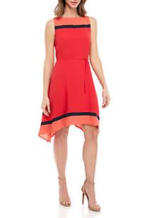 Robbie Bee Sleeveless Textured Horizontal Stripe Trapeze Dress