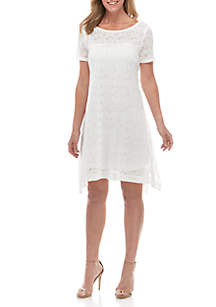 Robbie Bee Short Sleeve Lace A Line Dress