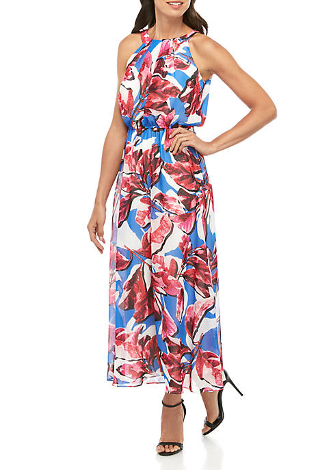 Halter Chiffon Floral Maxi Dress