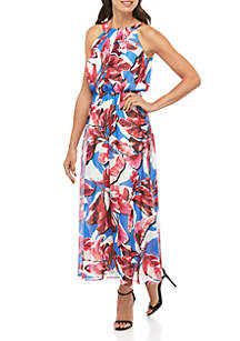 Robbie Bee Halter Chiffon Floral Maxi Dress