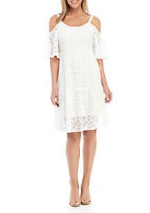 Robbie Bee Lace Cold Shoulder A Line Dress