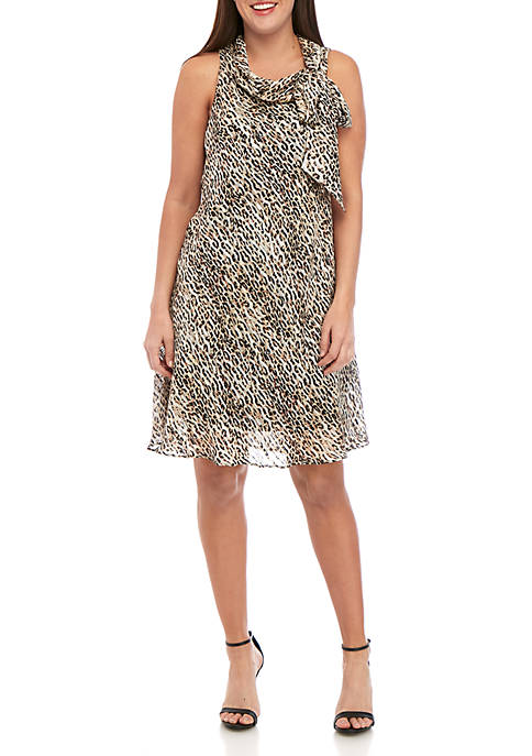 Sleeveless Tie Neck Animal Print A Line Dress