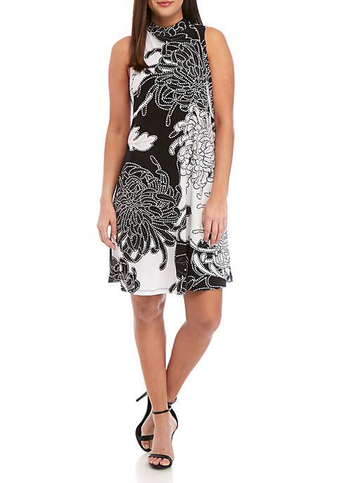 Sleeveless Mock Neck Puff Print A Line Dress
