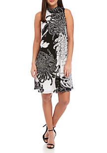 Robbie Bee Sleeveless Mock Neck Puff Print A Line Dress