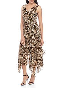 Robbie Bee Sleeveless Animal Print Drape Neck Handkerchief Hem Dress