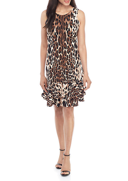 Robbie Bee Sleeveless Animal Drop Waist Dress