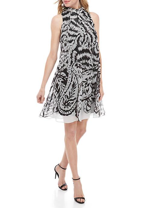 Mock Neck A Line Dress