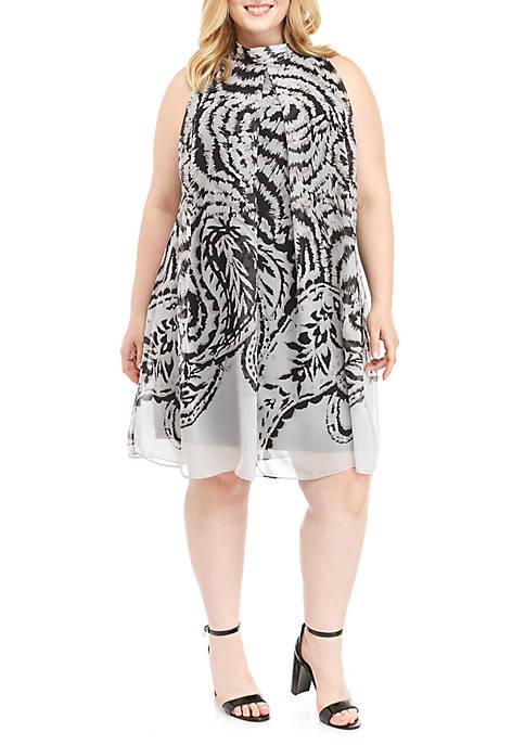 Plus Size Sleeveless Mock Neck Printed A Line Dress