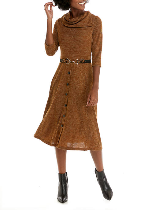 Robbie Bee Womens Cowl Neck Belted Cozy Dress