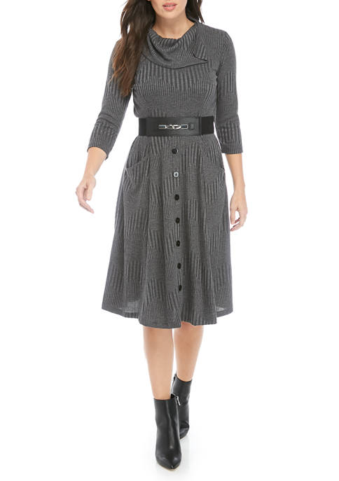 Womens Solid Cowl Neck Belted Sweater Dress