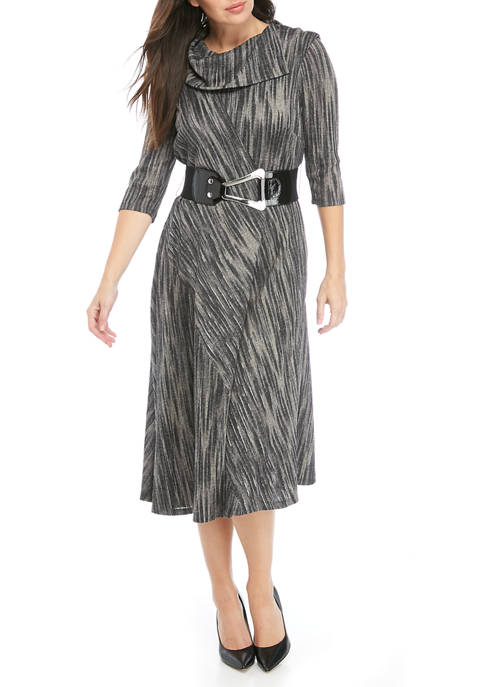 Spin Dye Cowl Neck Belt Dress