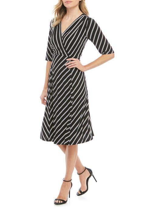 Womens Elbow Sleeve Faux Wrap Midi Dress