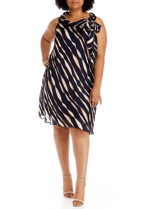 Plus Size Bow Neck Sleeveless Printed Dress