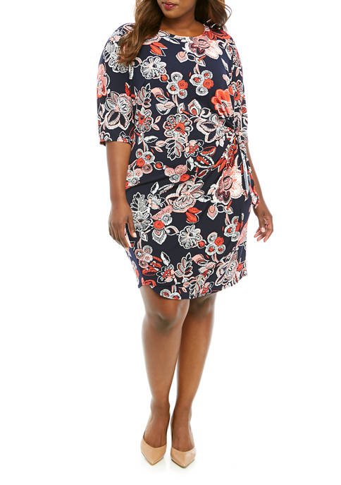 Plus Size 3/4 Sleeve Side Tie Floral Print Dress