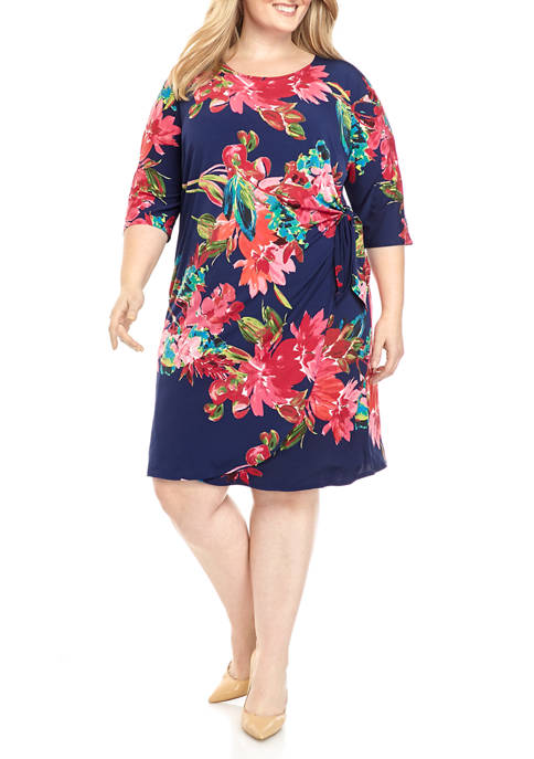 Plus Size 3/4 Sleeve Floral Side Tie Wrap Dress