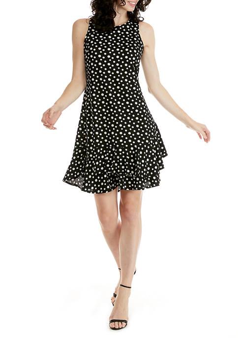 Robbie Bee Womens Sleeveless Dot Ruffle Hem Dress