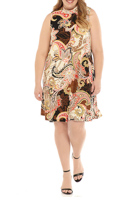 Robbie Bee Plus Size Sleeveless Paisley Mock Neck