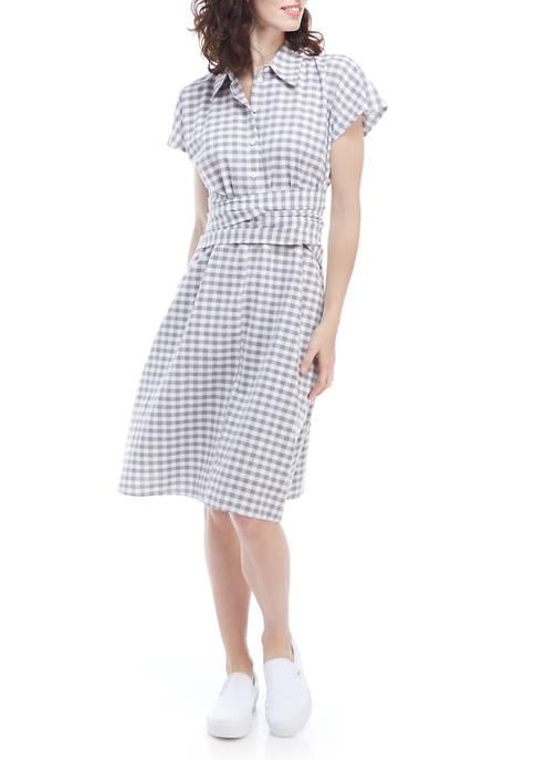 Robbie Bee Womens Gingham Tie Waist Shirt Dress