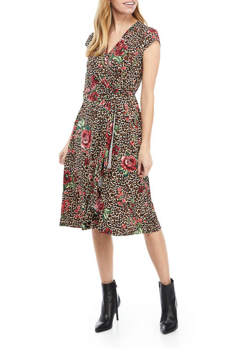 Robbie Bee Womens Cap Sleeve Crossover V-Neck Floral