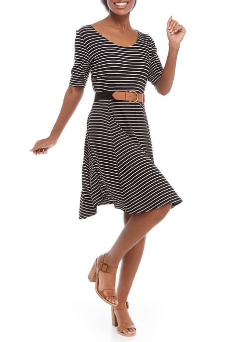 Robbie Bee Womens Elbow Sleeve Striped Belted Dress