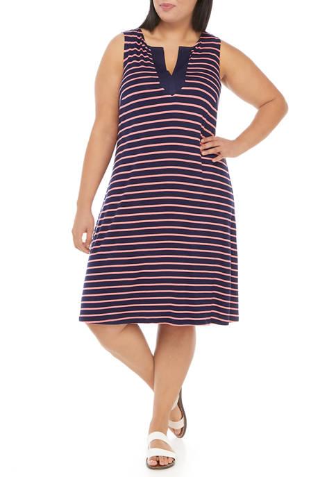 Plus Size Sleeveless Striped Sheath Dress