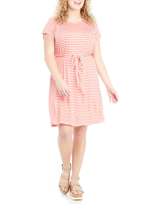 Plus Size Cap Sleeve Striped Tie Waist Dress